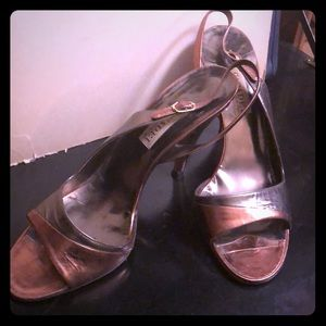 Casadei silver and gold formal evening shoes Sz 10